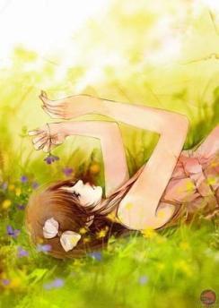 fille dans l'herbe
