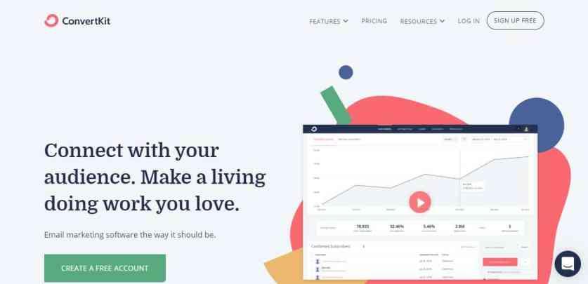 Page d'accueil de ConvertKit