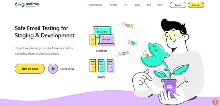 Page d'accueil de Mailtrap