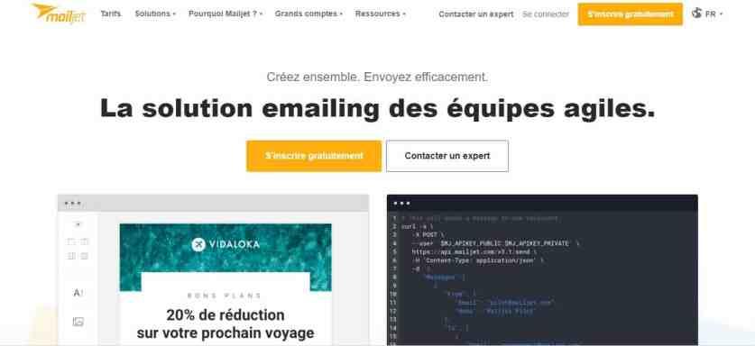 Page d'accueil de MailJet