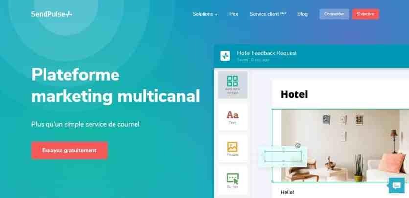 Page d'accueil de SendPulse