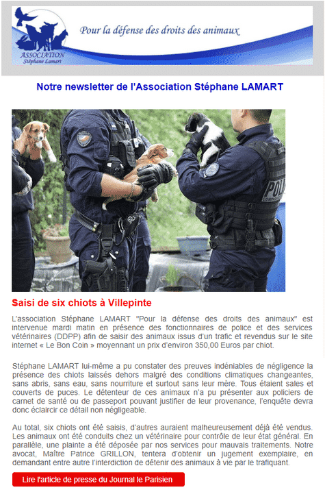 Mail de l'association Stéphane LAMART