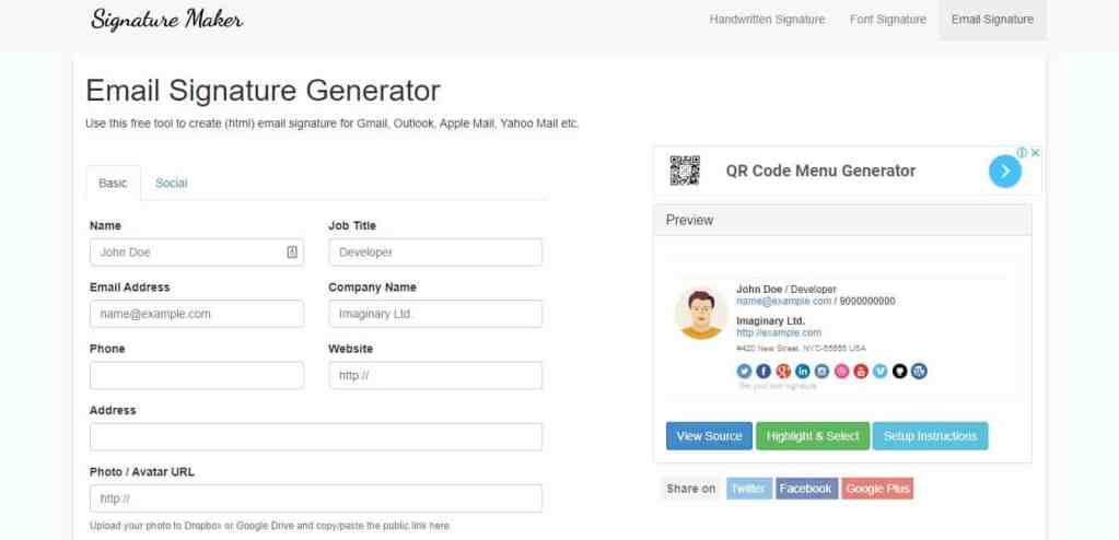 Signature Maker : un outil très simple pour générer une signature mail html