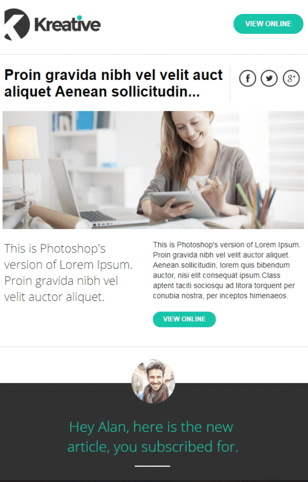 7. Kreativ Professional Email Newsletter Template