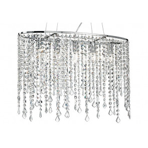 Alice lampadario moderno 6 luci a sfera con ottagoni in cristallo finitura cromo. Lampadario Sospensione Ovale Pendenti Cristalli K9 Classico E14