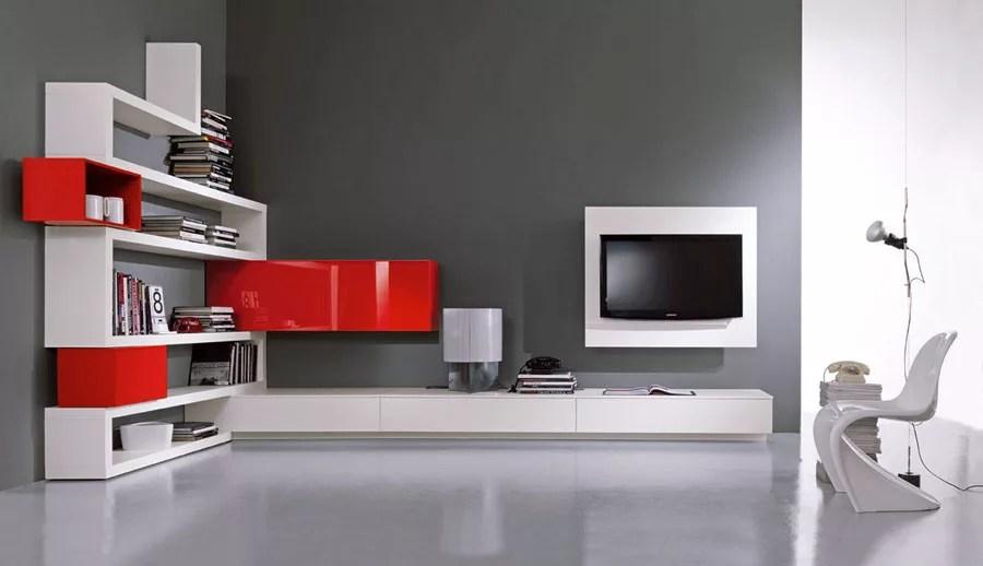 parete attrezzata porta tv soggiorno moderna di design 180 x 28/40 x 165 h. Pareti Attrezzate Moderne 100 Idee Di Design Per Arredare Casa Mondodesign It