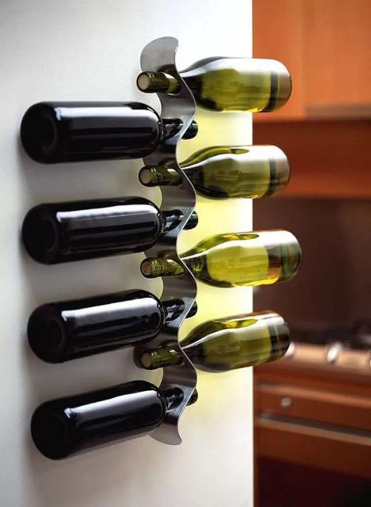 Patrón de soportes para botellas de vino 45 de pared