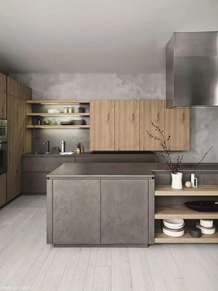 I toni caldi delle pareti, in combinazione con mobili marrone. Cucina Grigia Idee E Modelli Delle Migliori Marche Mondodesign It