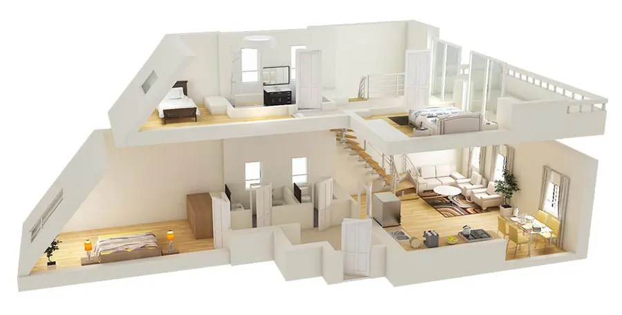 Posto agli ultimi due piani di un palazzo residenziale in zona isola a milano, l'appartamento si presentava prima dell'intervento con spazi estremamente frammentati, disomogenei e mal risolti. Planimetria Casa 100 Mq 3d Su Uno O Due Piani Mondodesign It