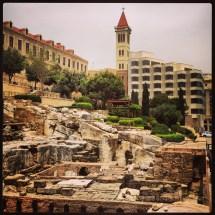 Roman bath ruins in downtown