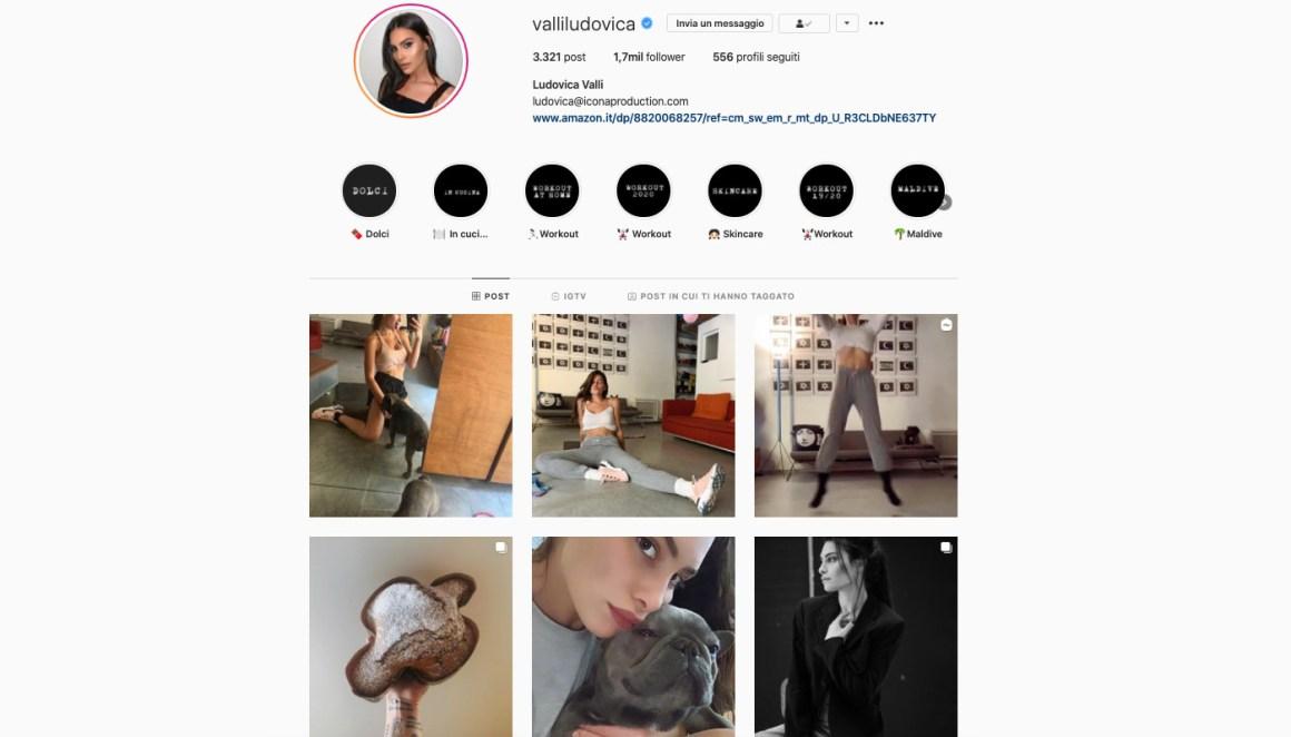 Ludovica Valli, Instagram