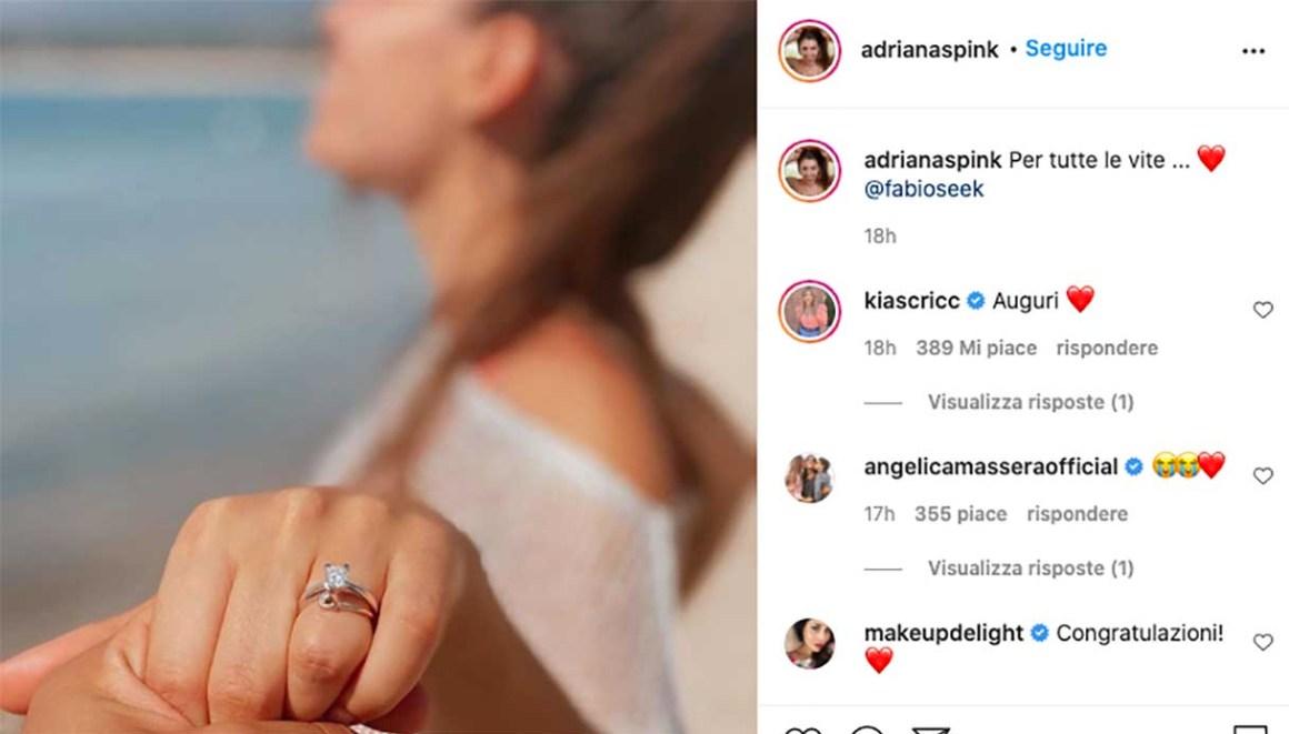 Adriana Sink, proposta di matrimonio