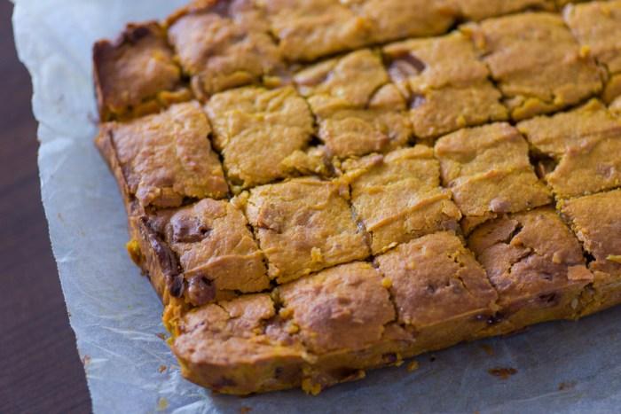 Pumpkin Blondies with Fudge Chunks, White Chocolate & Peanuts