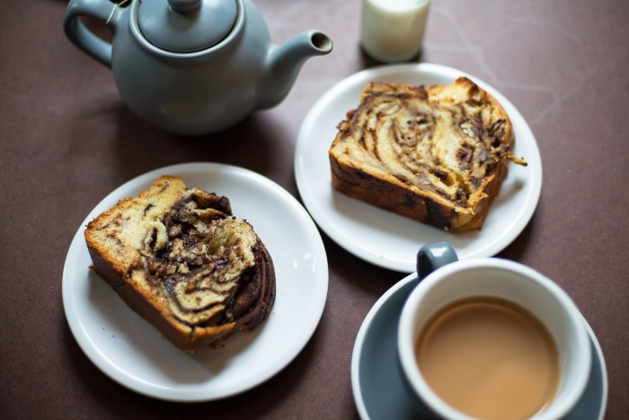 Babka Cake - Brunch at The Good Egg restaurant in Stoke Newington, London.