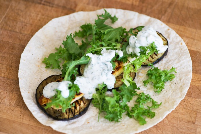 Grilled Aubergine and Halloumi Wrap with Minty Yogurt Dip