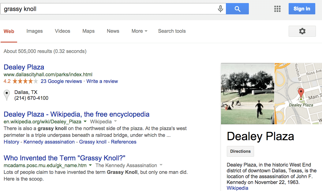 "Screehshot of Google ""grassy knoll"""