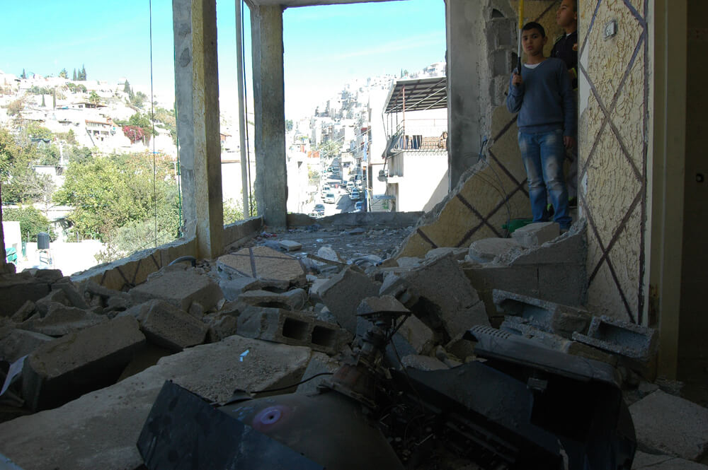 Home of Abdel Rahman al-Shaludi, the Jerusalem motorist from the October 22, 2014 light rail attack in Jerusalem, demolished by Israeli authorities early Wednesday morning, in the Silwan neighborhood of East Jerusalem (Photo: Allison Deger)