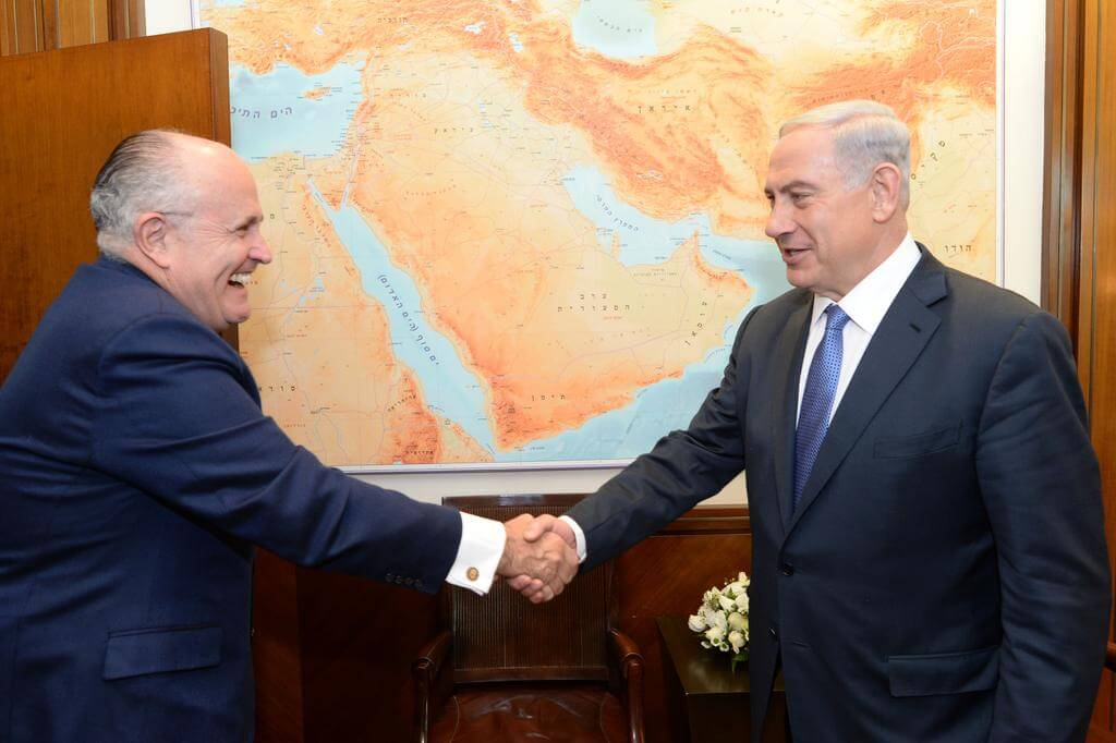 Netanyahu greets Giuliani, Feb. 1, 2015