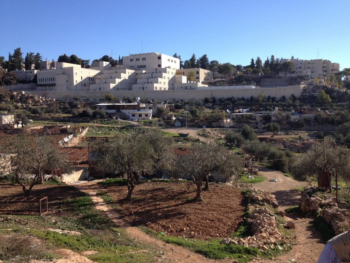 Kiryat Arba buildings overlooking Palestinian houses in Wadi Al Hussein (Photo: EAPPI/Sabrina Tucci)