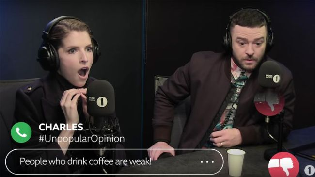 Anna Kendrick and Justin Timberlake reacting to unpopular opinions is a glorious watch