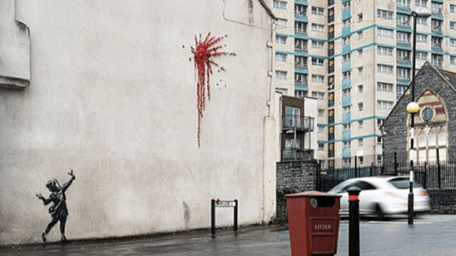 Banksy artwork pops up just in time for Valentine's Day