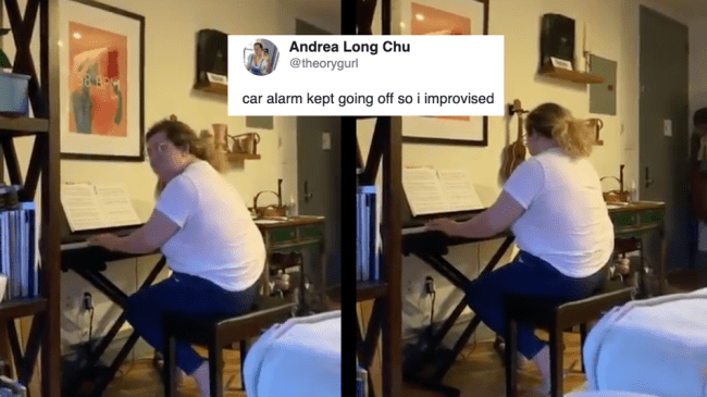 This piano tune drowning out a car alarm is the perfect quarantine soundtrack