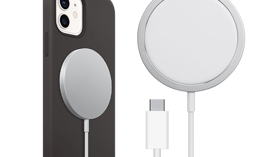 The charger magnetically attaches to your phone.