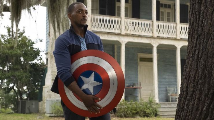 "Sam Wilson grapples with Captain America's legacy in ""The Falcon and the Winter Soldier"" on Disney+."