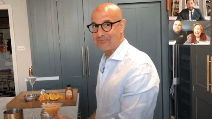 Stanley Tucci, Guy Fieri, and Martha Stewart surprise fans for John Krasinski's celeb potluck