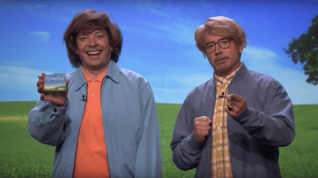 Robert Downey Jr. and Jimmy Fallon are terrible medicine salesmen in even worse wigs