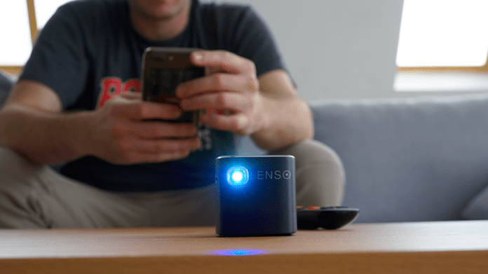The Lenso pocket projector can go anywhere with you.