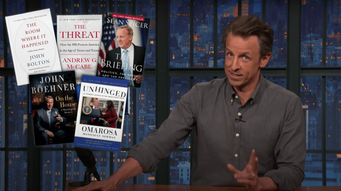 'Pick up an acoustic guitar': Seth Meyers scathingly calls out Trump aides' book deals