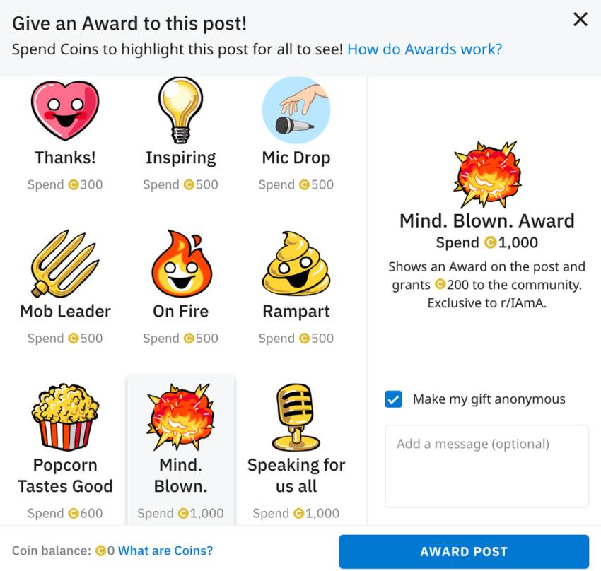 The community rewards the r / IAmA sub-program.