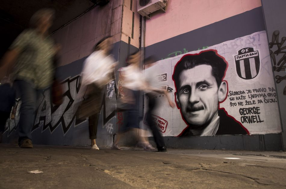 """Freedom is the right to tell people what they do not want to hear"": George Orwell graffiti in Belgrade, Serbia, 2018."
