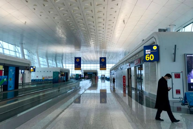 With travel bans in and out of Wuhan, Wuhan airport is deserted.