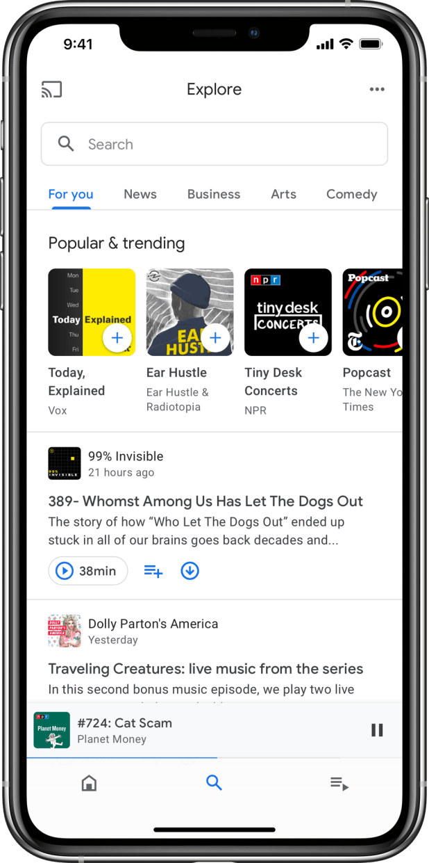 Android: The Explore tab helps you find new podcasts to listen to when you've run out of your favorites.