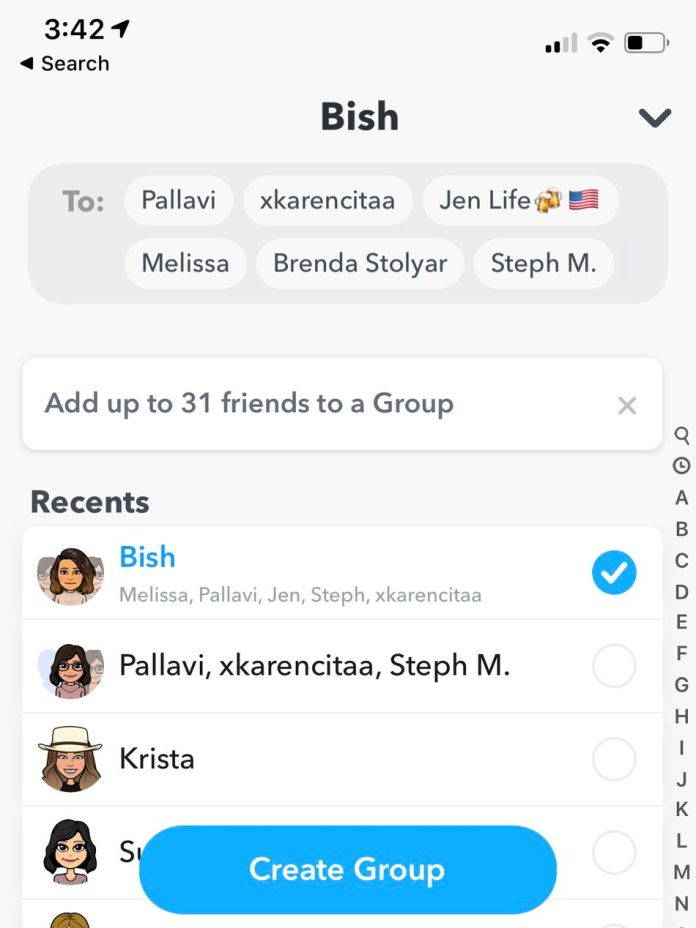 You can choose who you want to add right from the contacts and also nickname the group.