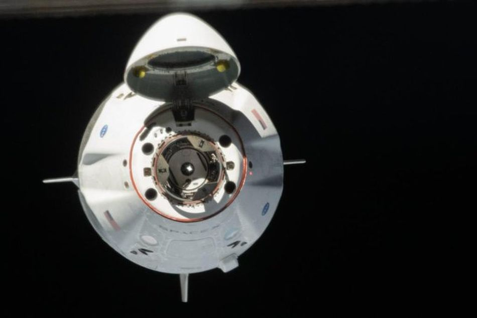 SpaceX Crew Dragon approaching the International Space Station.