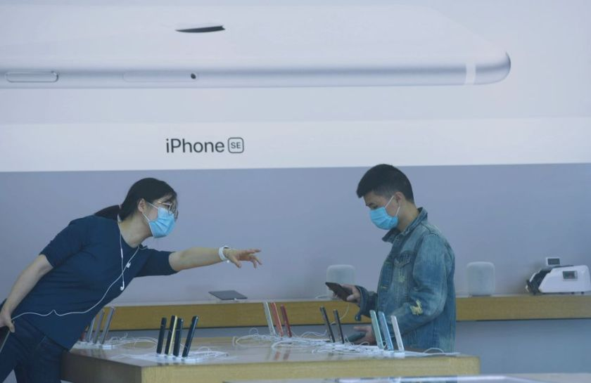 An Apple store in Hangzou, China looked different on iPhone launch day.