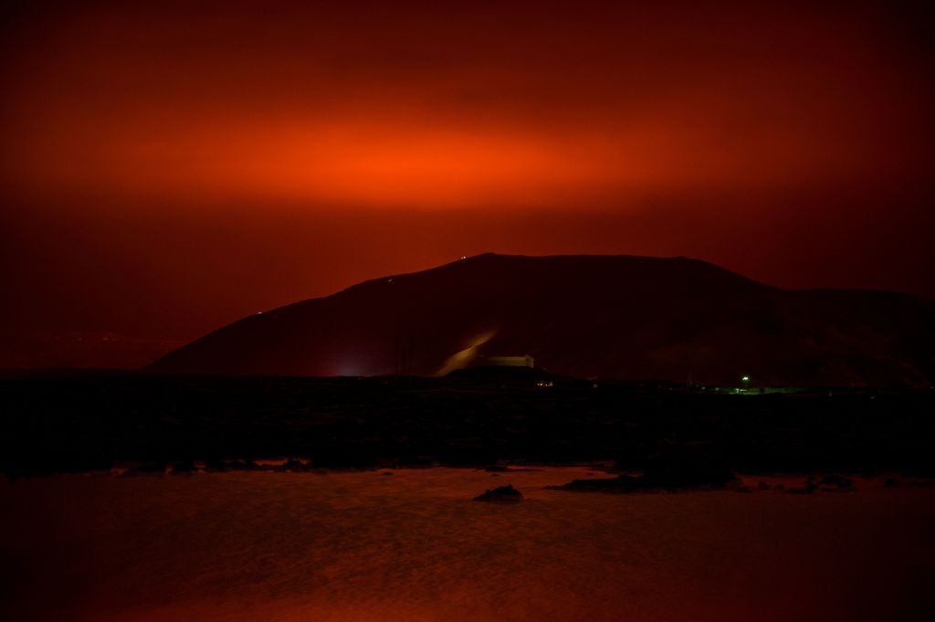 The orange glow from the lava flows, seen on March 19, 2021.