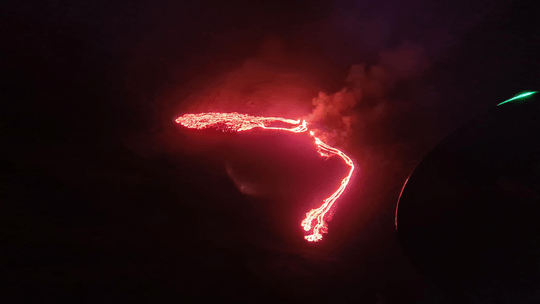 An early view of the lava flow on March 19, 2021.