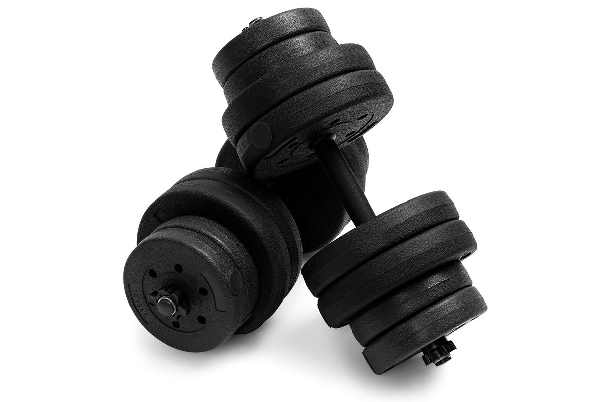 Strength train from home with a pair of adjustable dumbbells on sale