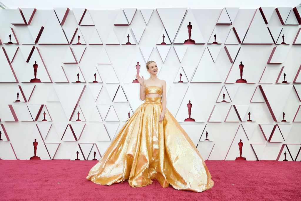 LOS ANGELES, CALIFORNIA – APRIL 25: (EDITORIAL USE ONLY) In this handout photo provided by A.M.P.A.S., Carey Mulligan attends the 93rd Annual Academy Awards at Union Station on April 25, 2021 in Los Angeles, California. (Photo by Matt Petit/A.M.P.A.S. via Getty Images)