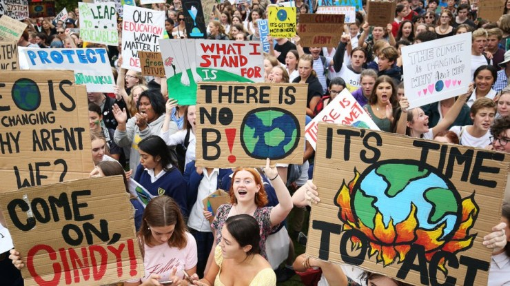 Students make their voices heard in Wellington, New Zealand.