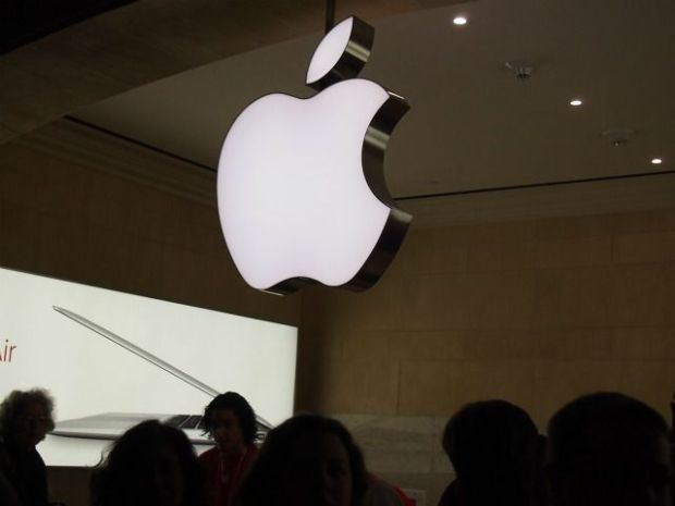 After climbing the staircase from the main concourse to the store's entrance, shoppers are greeted with the company's iconic Apple logo dangling from an archway.