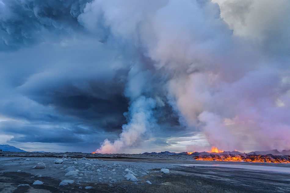 Steam rises into the air near the Bardarbunga Volcano on Sept. 2, 2014.