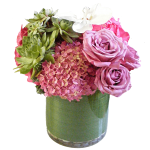 Modern compact flower arrangement.