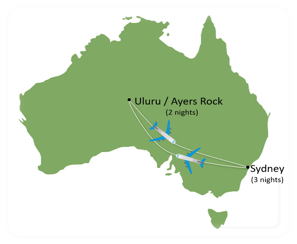 Australia in 6 days tour map