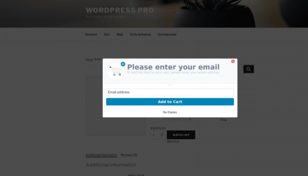 Ecommerce popup before checkout