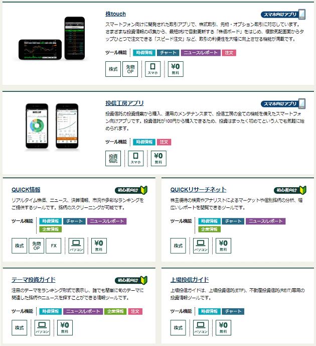 提供されている情報ツール・アプリ